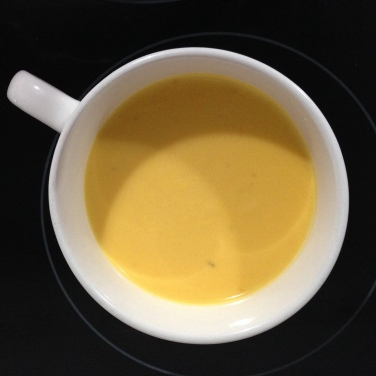 crema de calabza con langostinos